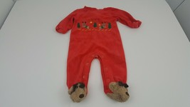Reindeer Forest Red One Piece Fleece Footie Pajamas Christmas Tree Embro... - $7.84