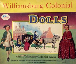 VINTAGE UNCUT 1955 COLONIAL WILLIAMSBURG PAPER DOLLS~#1 REPRODUCTION~NOS... - $19.99
