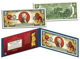 Chinese 12 Zodiac YEAR OF THE DOG Colorized USA $2 Dollar Bill Certified - $17.66