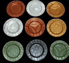 "Varied Colors Designs Very HVY Thick 12-13"" Glass Platter Charger Unique... - $32.99"