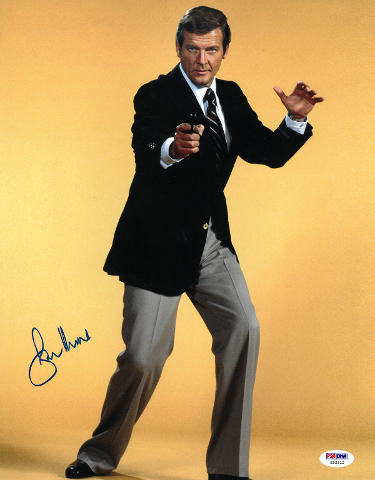 Primary image for Roger Moore signed James Bond 11x14 Photo (yellow background)- PSA Hologram (ent