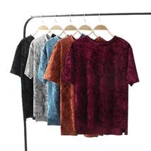 Women vintage velvet blouse solid short sleeve o neck loose shirt side split lad - $40.00