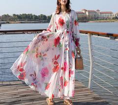 Long Sleeve Plus Size Floral Chiffon Dress Lady Maxi Long Chiffon Flower Dress   image 2