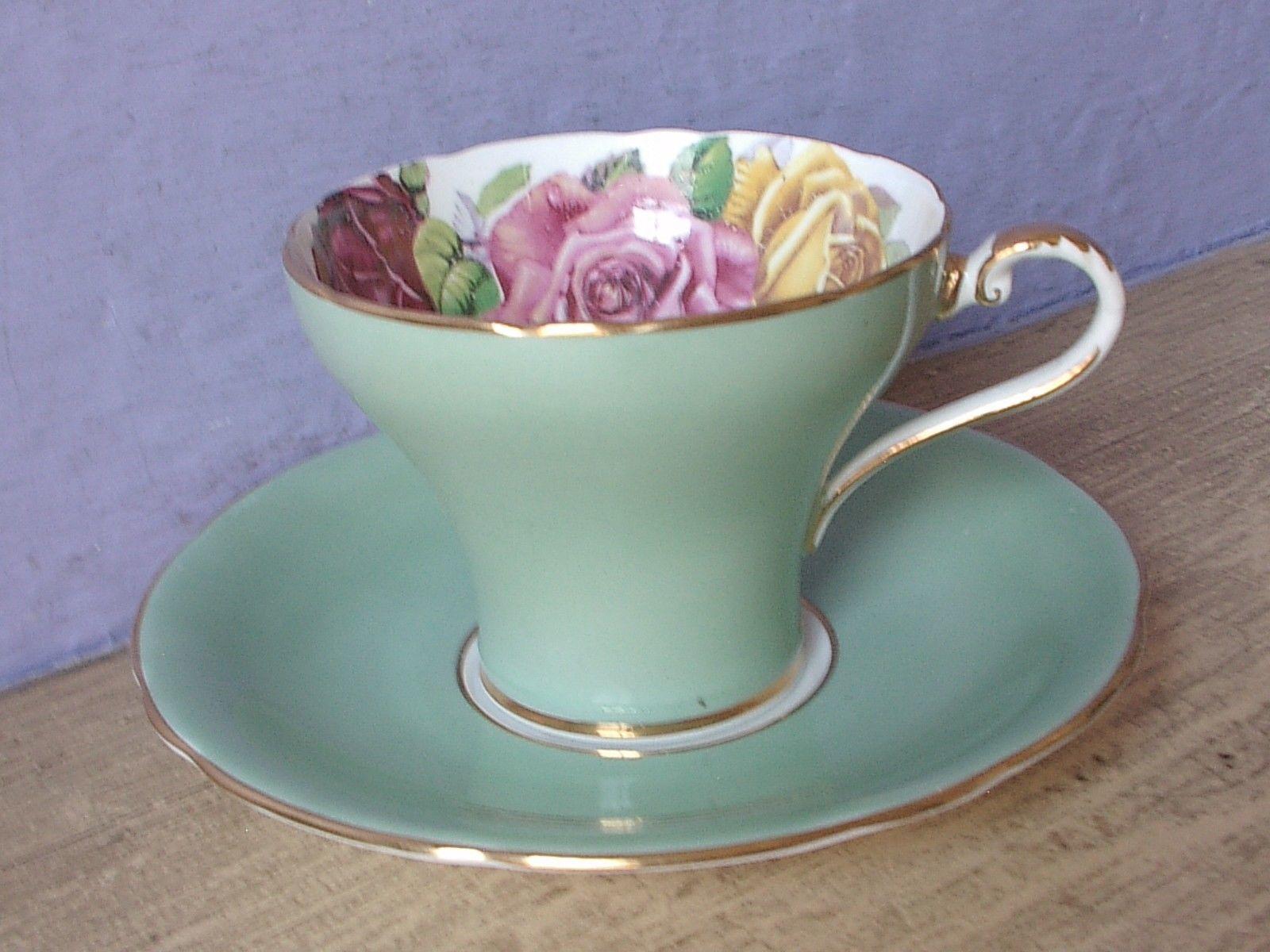 Vintage Aynsley Large pink yellow roses tea cup, Green Bone china teacup image 3
