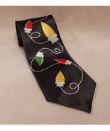 Mens Neck Tie Holiday Christmas String of Lights Black White Red Yellow ... - $10.88