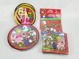 (Lot of 8) Super Mario Birthday Party Supplies Plates Napkins Loot Bags.... - $31.32 CAD