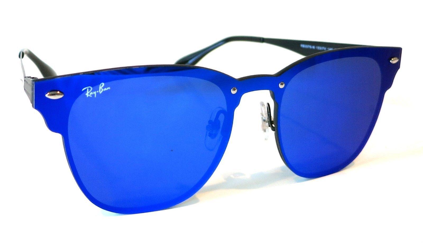 31ba98a4d9 Rayban Blaze Clubmaster Sunglasses RB3576N 153 7V 47 Violet Blue Mirror club