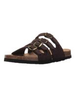 Northside Women's ANDARA Flat Brown Slide Buckle Sandal Leather Suede Si... - $19.95