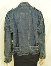 Jordache jeans jacket SZ M denim moto style vintage zippers pockets belt dark image 5