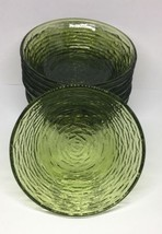 "set of 8 Anchor Hocking Soreno Glass 6"" Dinner Cereal Bowls - Green Ripp... - $32.73"