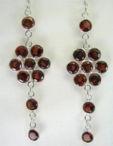Red faceted Garnet Circles Sterling Silver Dangle Earrings 925 Oval 925 - $111.00