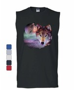 Wolf Howling at Moon Muscle Shirt Wilderness Wildlife Wild Wolf Pack Sleeveless - $17.35 - $21.99