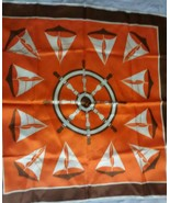 "Rain Scarf Vintage Nautical Sailboats Captains Ship Wheel Orange Square 26"" - $8.99"