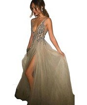 Deep V neck Sexy Prom Dresses Gown Champagne 2017 Formal Evening Party Dresses - $154.00