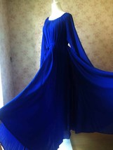 COBALT BLUE Plus Size Long Chiffon dress Gowns Prom Dress Long Sleeve Dresses