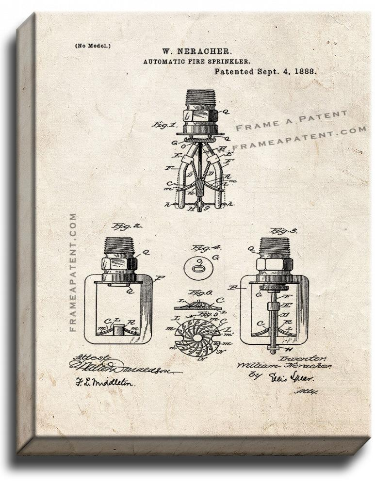 Primary image for Automatic Fire Sprinkler Patent Print Old Look on Canvas