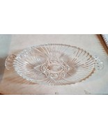 Anchor Hocking 1960 Vintage Clear Cut Glass Two Handle Oval Relish or Ca... - $14.70