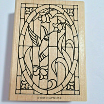 Stampin Up Humming Bird Stained Glass Window Rubber Humming Along Oval 1998 RARE - $14.83