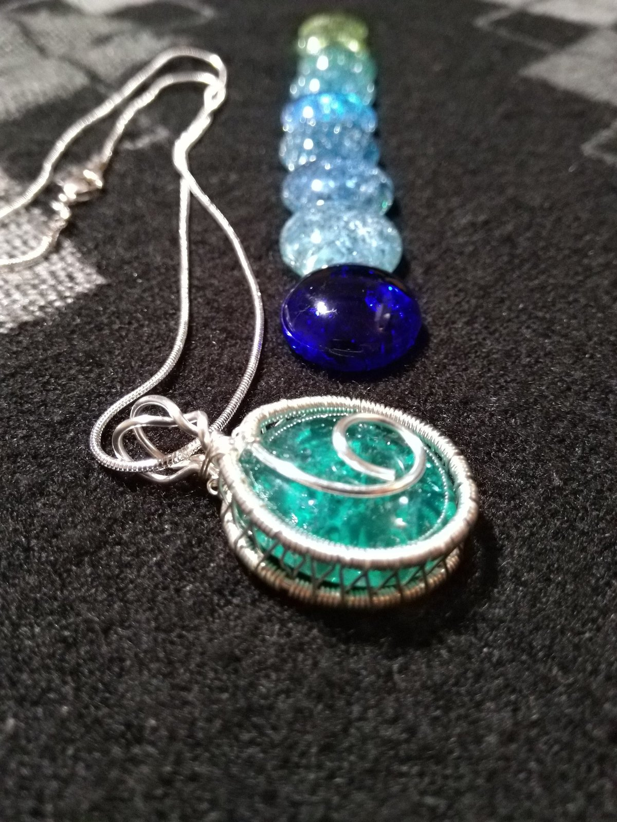 Blue and Green Shades Lollipop Swirl Cracked Glass Pendants, 9 Colors Available
