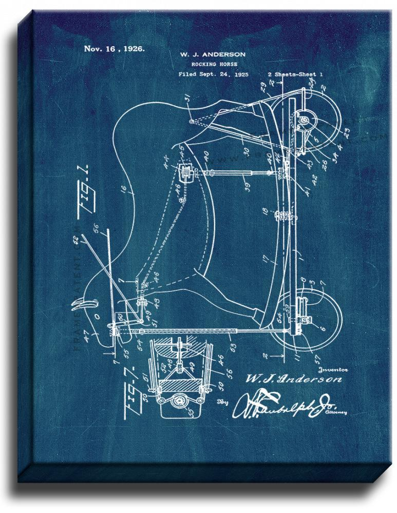 Primary image for Rocking-horse Patent Print Midnight Blue on Canvas