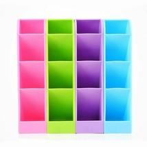Desk MultiFunctional Pen Pencil Holder Plastic Case Storage Box 4 Grid O... - $11.27