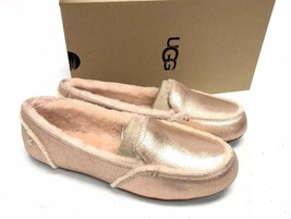 UGG Australia Hailey Metallic Rose Gold Sheepskin Suede Loafers 1020029 Shoes - $79.99