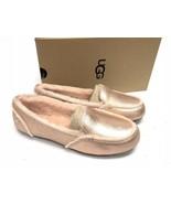 UGG Australia Hailey Metallic Rose Gold Sheepskin Suede Loafers 1020029 ... - $79.99