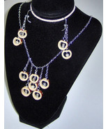 American Made!  Bamboo Earrings & Necklace Set Dangle Chandelier Natural... - $33.95