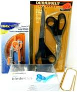 Lot of office equipment/scissors, binderclips, protractor & compass set ... - $7.83