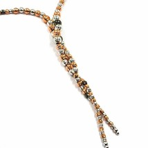 18K WHITE ROSE BLACK GOLD LARIAT NECKLACE DIAMOND CUT SPHERES SPIRAL BRAIDED image 2