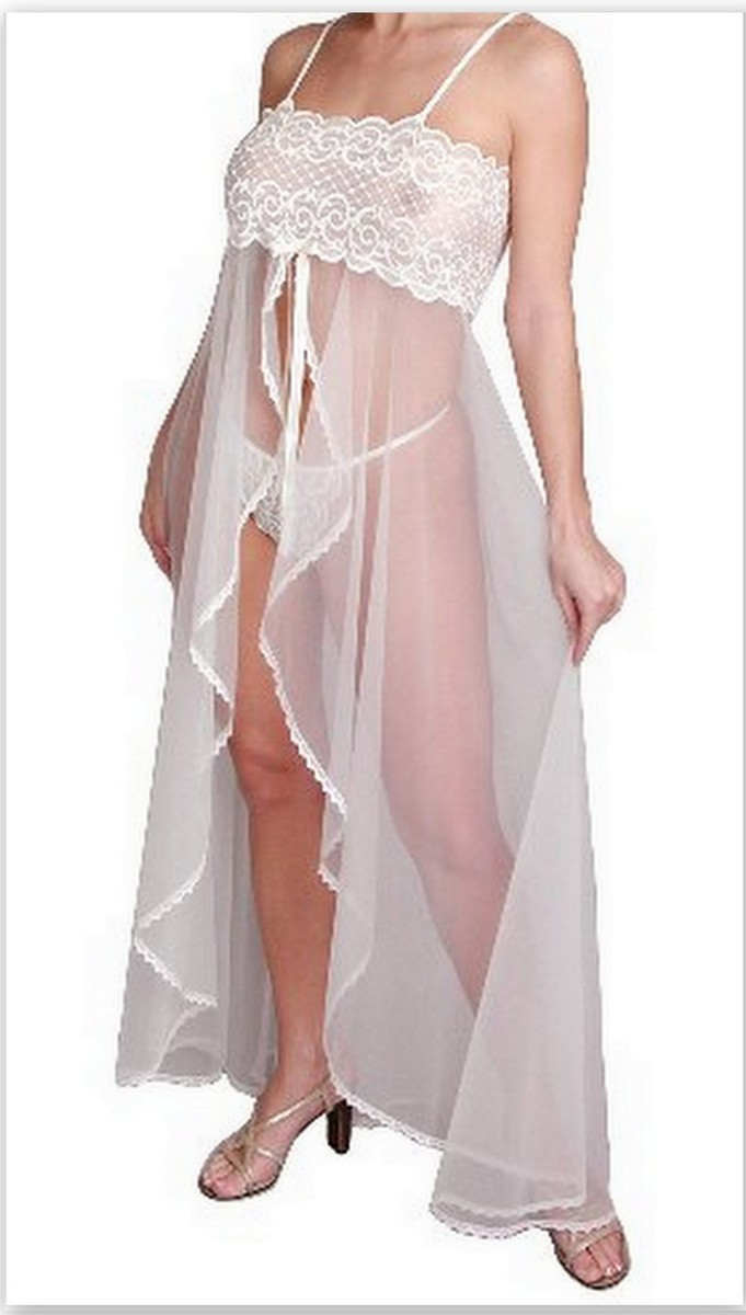 Ivory Open Front Long Nightgown Lace Front G-String 1X 2X Stretch Bodice 2 pc