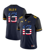 West Virginia Mountaineers David Sills V 13 USA Flag Jersey, Navy - $61.09