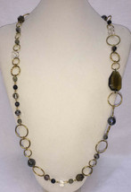 Necklace Cookie Lee Round Circles Gold Tone Metal Glass Faceted Beads Blue Gray - $12.86