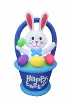 4 Foot Tall Air Blown Inflatable Bunny in Basket with Easter Egg Yard De... - $60.00