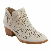 Earth Wyoming Wonder Womens 10 Ankle Boots Beige Cream Suede Perforated NEW - $69.29