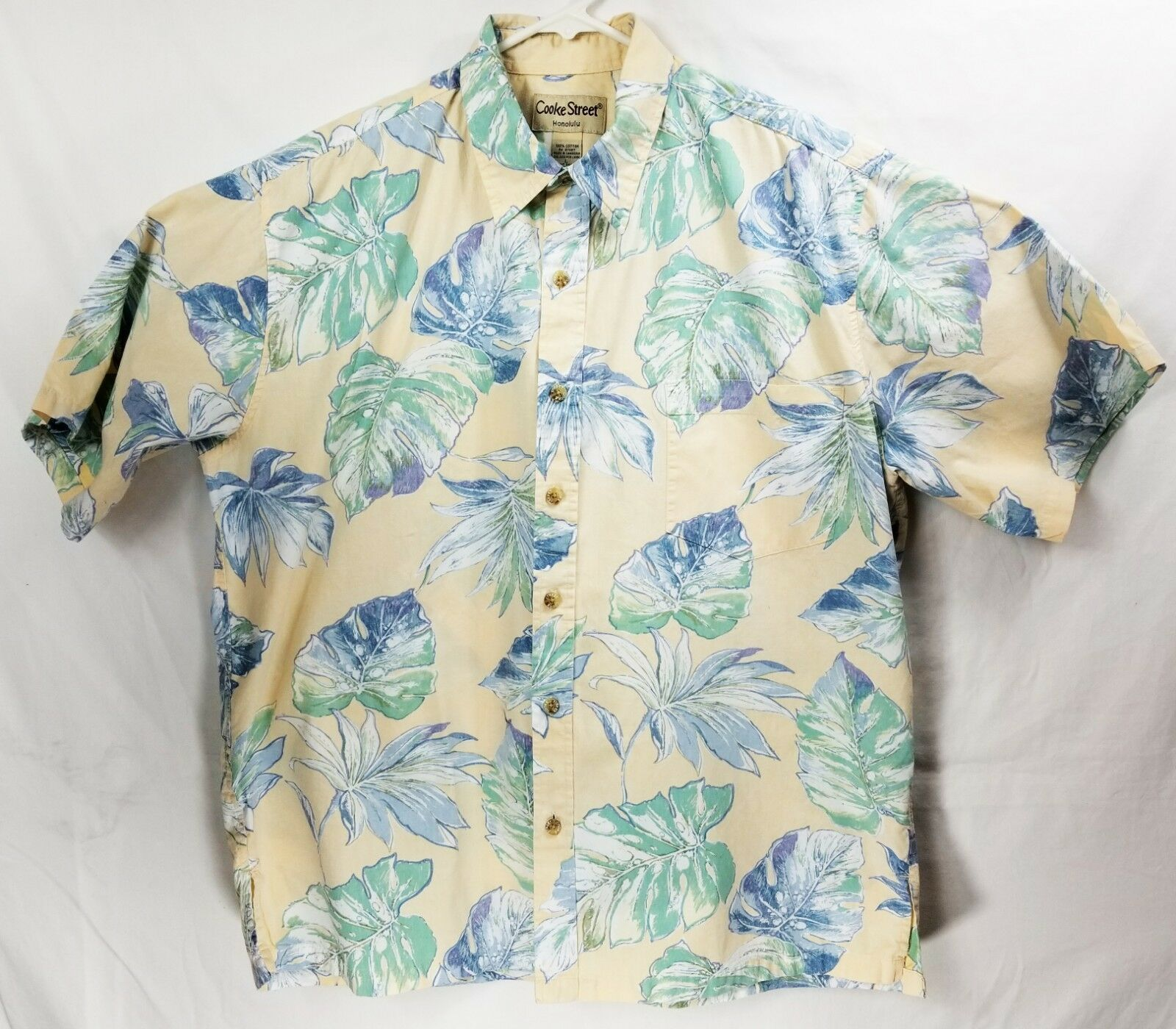 Cooke Street Mens Hawaiian Shirt Reverse Print  Size Large Cotton  Leaf EUC