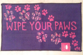"""Kitchen Rug """"Wipe Your Paws"""" Floor Mat Microfiber Black Red Pawprints 17x28 image 1"""