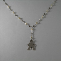 925 RHODIUM SILVER NECKLACE WITH FW WHITE PEARLS AND BABY BOY PENDANT 17,72 IN image 2