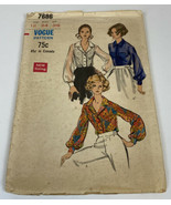 Vogue Vintage Sewing Pattern 7686 1960s Size 12 Bust 34 Hip 36 Blouse Wo... - $16.85