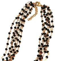 """ROSE NECKLACE BLACK, ORANGE SPOTTED DROP OVAL MURANO GLASS 45cm 18"""" ITALY MADE image 3"""