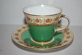 Aynsley England Green Floral Gold Trim Teacup and Saucer - $92.70