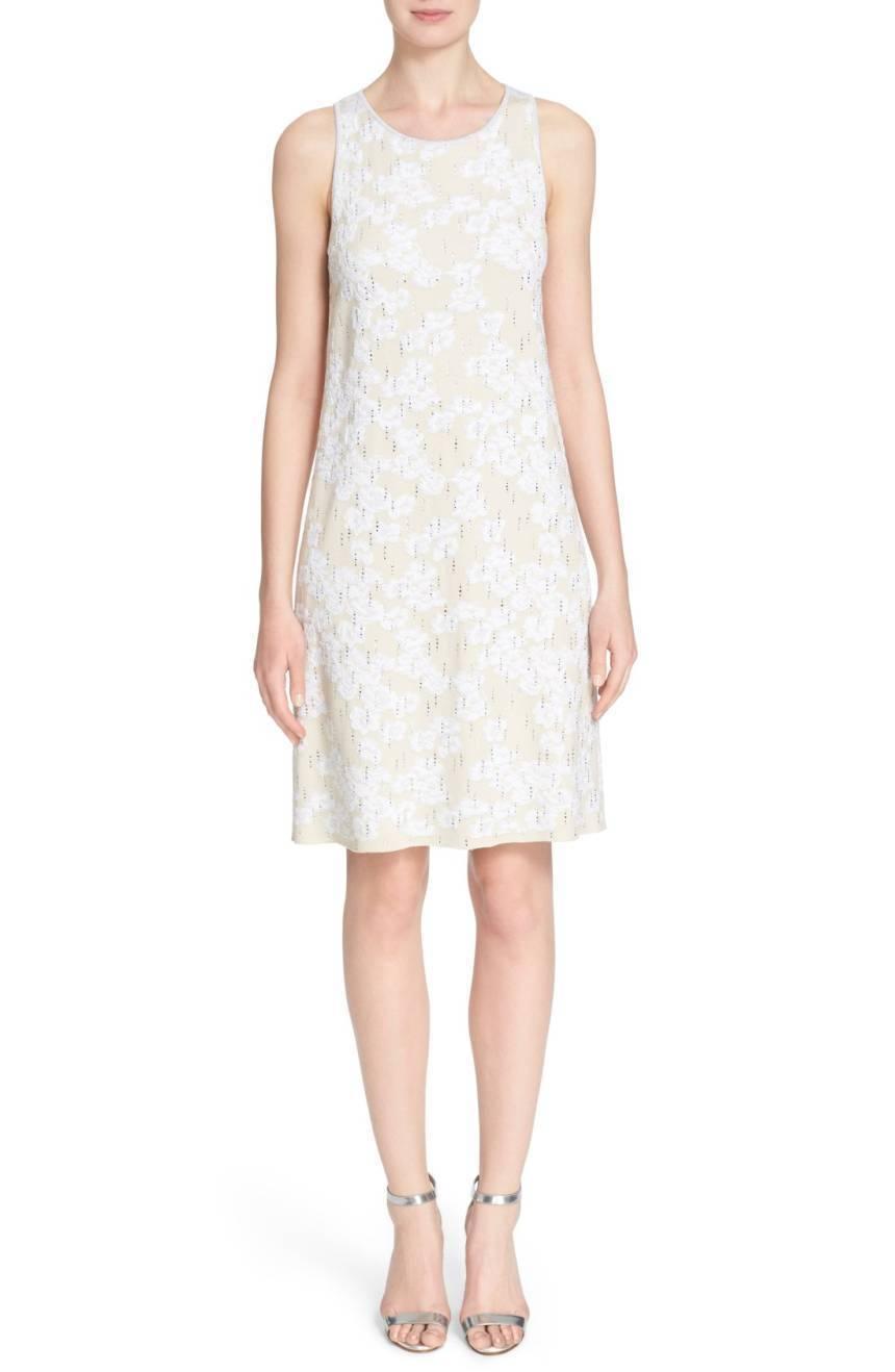 St. John Bianco Crystal Floral Cloque WHITE IVORY Dress Bridal Wedding SIZE 6 NW