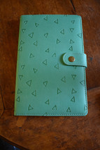 Sea Green With Triangles design FAUX LEATHER  BUCKLE CLOSURE Journal lin... - $8.80