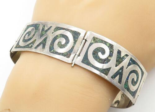 AMD MEXICO 925 Silver - Vintage Jasper Swirl Pattern Chain Bracelet - B6302