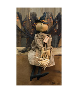 Arabella Witch primitive doll witch broom pointy boots Halloween  - $56.00