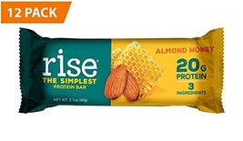 Rise Bar Non-GMO, Gluten Free, Soy Free, Real Whole Food, Whey Protein Bar 20g,