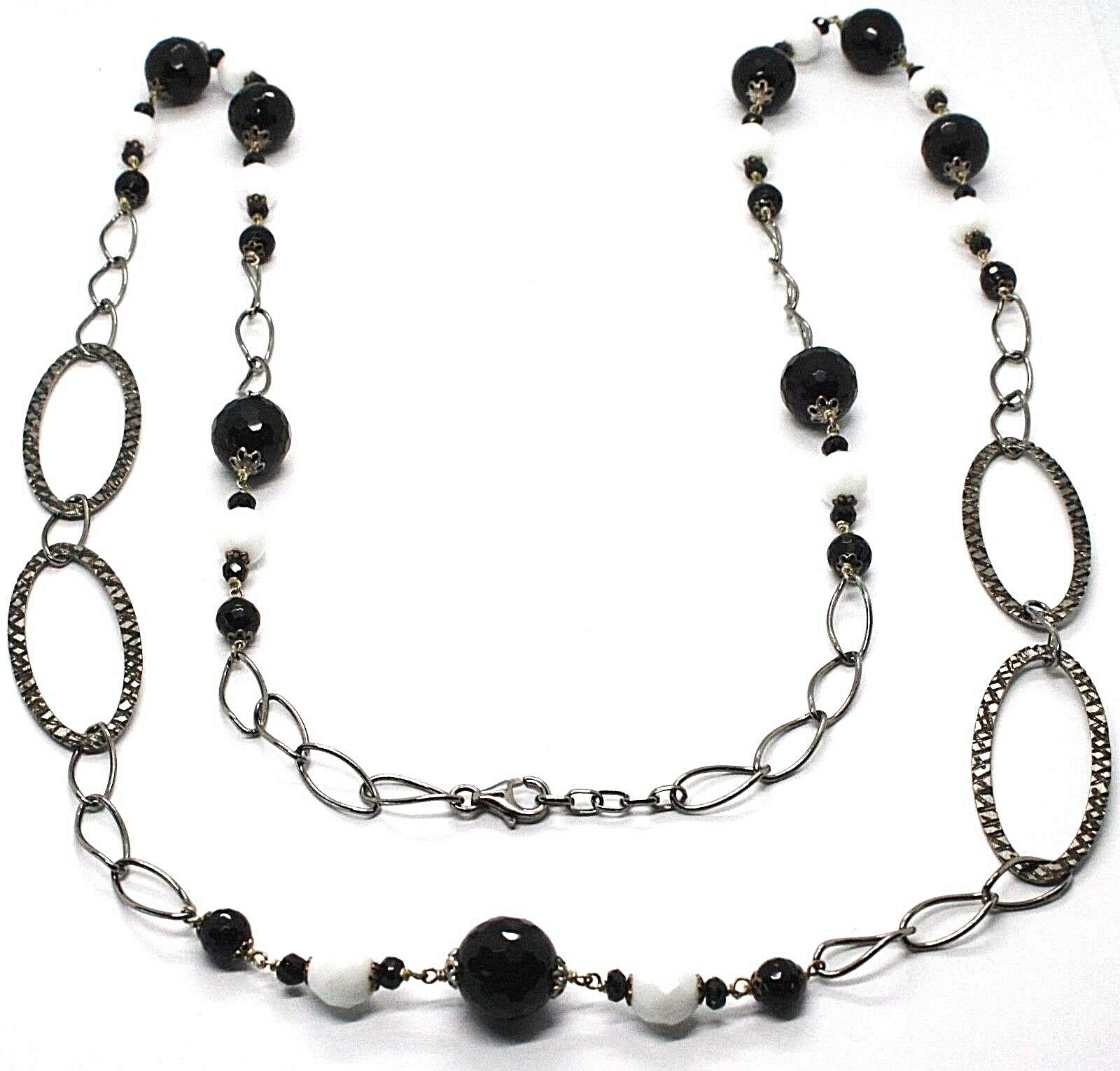 Necklace Silver 925 Burnished,Onyx,Spinel,Length 100 cm, Chain Oval