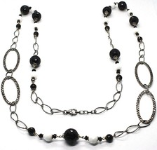 Necklace Silver 925 Burnished,Onyx,Spinel,Length 100 cm, Chain Oval image 1
