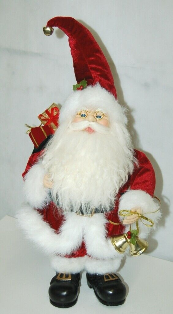 American Silkflower Detailed Santa Figurine Holding Two Gold Colored Bells
