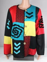 Alex kim women's blazer jacket multi colored embroidery buttons front si... - $21.89